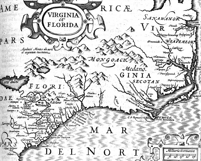 Map of Virginia and Florida from 1606